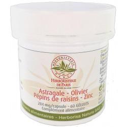 Astragale Olivier Pépins de raisins Zinc 60 gélules - Herboristerie de paris