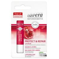 Le Baume à Lèvres Protect and Repair 4,5 gr - Lavera à la grenade bio et à l'huile d'argan bio régénère les lèvres sèches et ger