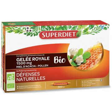 Gelée Royale bio Miel d'Acacia Pollen 20 ampoules de 15ml - Super Diet