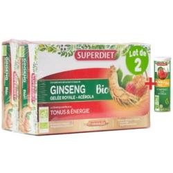 Ginseng Gelée Royale Acérola bio 40 ampoules + 1 acerola gratuit - Super Diet