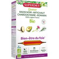 Quatuor Chardon marie Radis Noir Romarin Artichaut 20 Ampoules - Super Diet ampoules de plantes bio Aromatic Provence