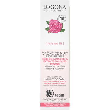 Crème nuit régénérante rose de Damas bio et Kalpariane 30ml - Logona