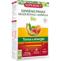 Ginseng, Gelée royale bio Super Diet, 20 ampoules de 15ml Ginseng Gelée royale acérola bio aromtic provence