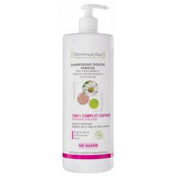 Shampoing douche familial bio capilargil 2 en 1 Corps et cheveux  1L - Dermaclay