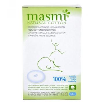 30 Coussinets d'allaitement 100% coton biologique - Masmi