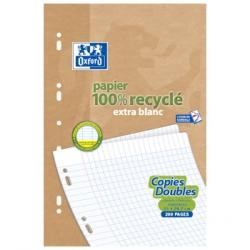 50 Copies doubles recyclées 21 x 29.7cm Oxford grands carreaux perforées A4 90g - Ecoburo
