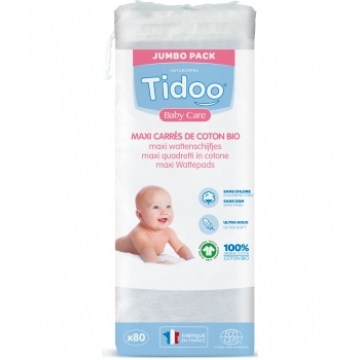 80 Maxi Carrés de Coton Bio TidooCare - Tidoo