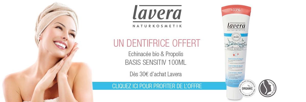 un dentifrice offert dès 30€ d'achat Lavera