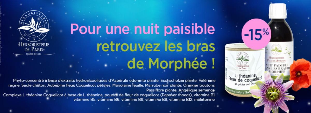 15% de remise sur le phyto concentré nuit paisible et le complexe L théanine Herboristerie de paris