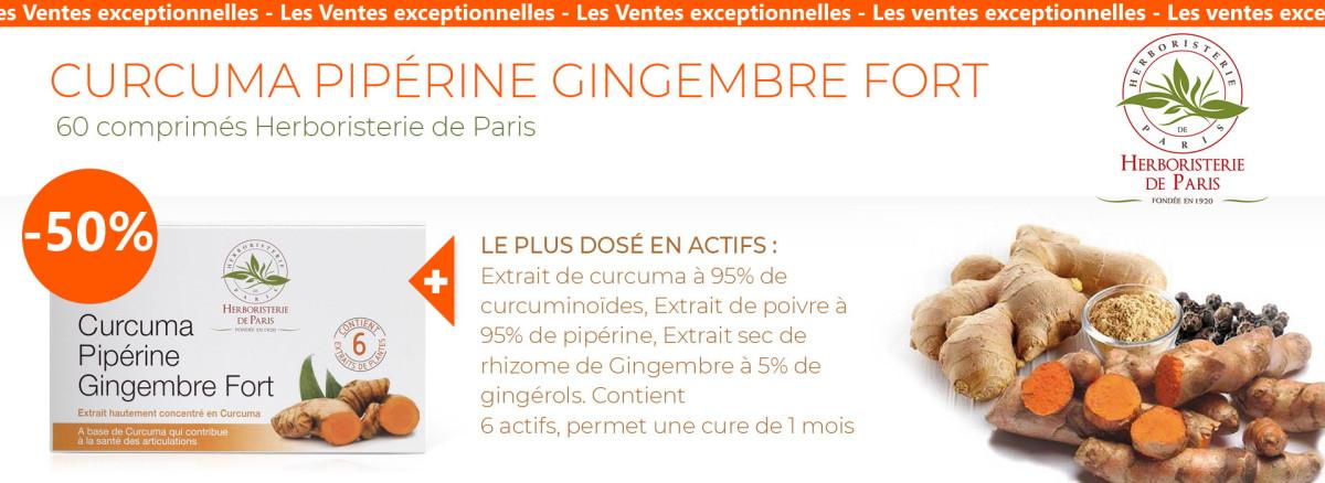 50% de remise sur le curcuma pipérine gingembre 60 comprimés